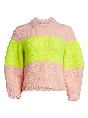 Tibi cozette neon stripe alpaca-blend sweater