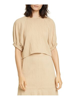 Tibi crinkle balloon sleeve crop top