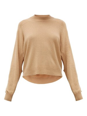 Tibi cutout-sleeve cropped cashmere sweater