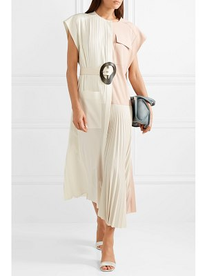Tibi edith color-block pleated crepe midi dress