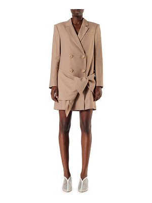 Tibi Linen-Viscose Blazer Dress with Removable Tie
