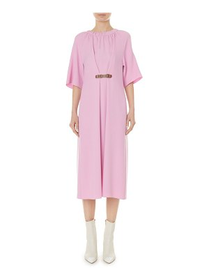 Tibi mica crepe shirred neck midi dress