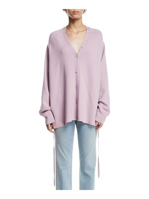 Tibi Slouchy Satin-Back Wool V-Neck Cardigan