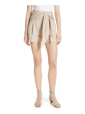 Tibi tie waist tropical wool shorts