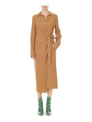 Tibi twill tied midi shirtdress