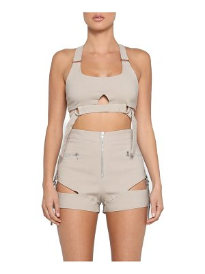 tiger Mist reed cutout utility crop top