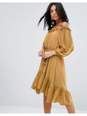 To Be Adored lorna silk off shoulder tassel dress