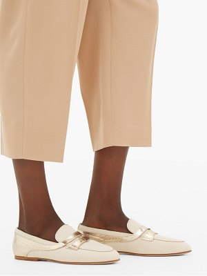 Tod's croc-effect panel canvas loafers