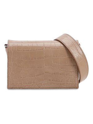 Tod's Croc embossed leather shoulder bag