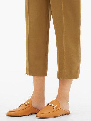 Tod's double t leather backless loafers