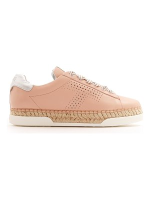 Tod's Gomma raffia-espadrille leather trainers