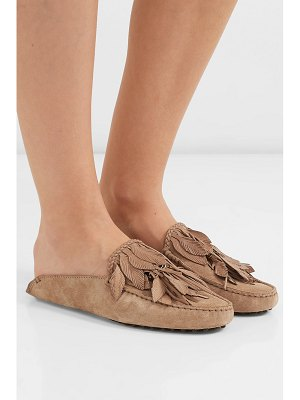 Tod's gommino embellished fringed suede slippers