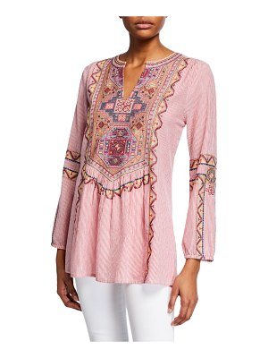 Tolani Lauren Striped Embroidered Long-Sleeve Tunic