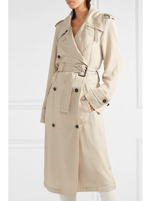 Tom Ford double-breasted leather-trimmed twill trench coat