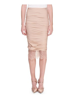 Tom Ford Lace-Hem Ruched Pencil Skirt
