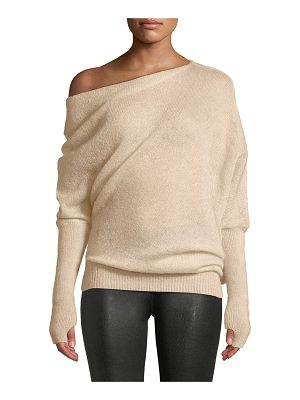 Tom Ford One-Shoulder Long-Sleeve Mohair-Silk Sweater w/ Thumbholes