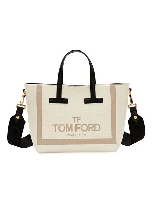 Tom Ford Printed Canvas and Leather T Tote Bag