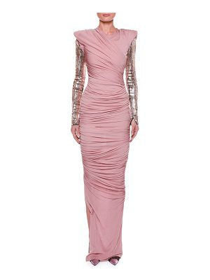 Tom Ford Ruched Bodice Gown with Beaded Sleeves