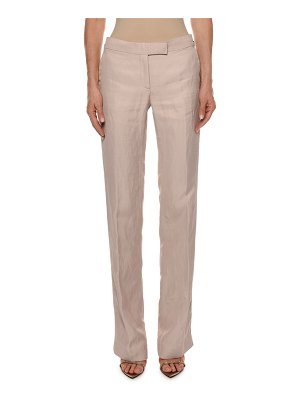 Tom Ford Side-Tabs Straight-Leg Viscose-Linen Pants