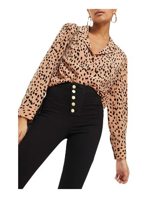 TOPSHOP Animal Print Satin Top