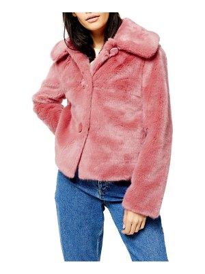 Topshop anne faux fur crop coat