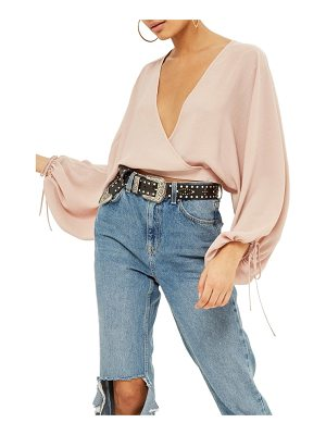 Topshop balloon sleeve wrap top