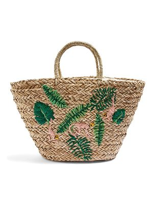 Topshop barrio monkey embroidered straw tote bag