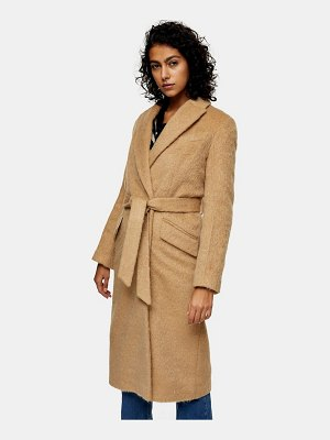 Topshop belted wool coat in camel-tan
