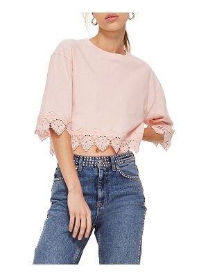 Topshop boxy lace trim top