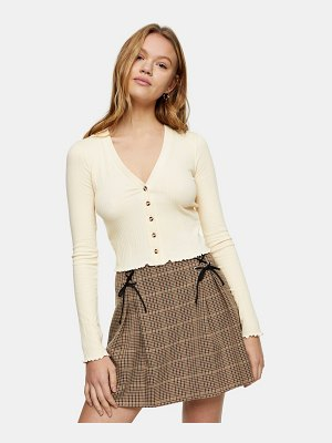 Topshop button ribbed cardigan in cream