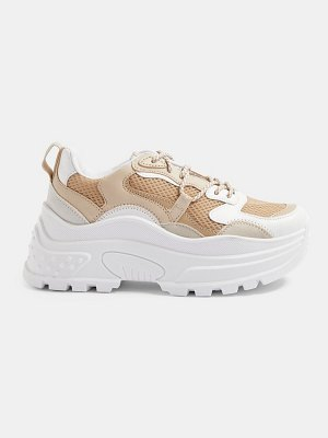 Topshop chunky sneakers in stone-neutral