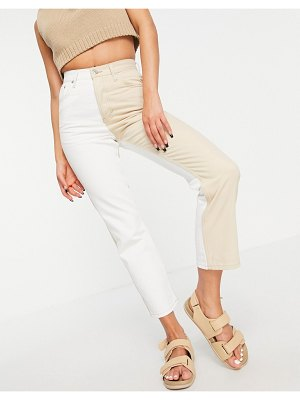 Topshop color block editor jean in sand-neutral