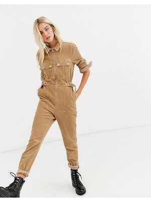 Topshop cord boilersuit with belt in sand-stone