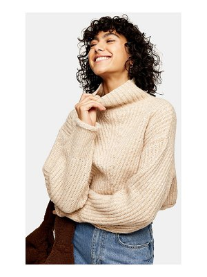 Topshop crop funnel neck knit sweater in taupe-neutral