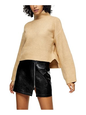 Topshop crop funnel neck sweater