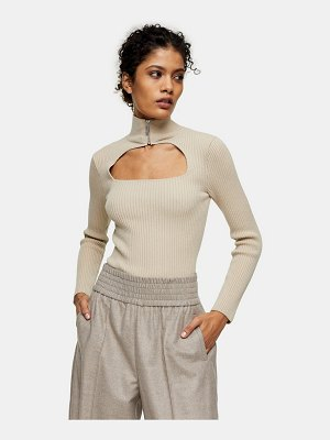Topshop cut-out detail zip knitted top in beige-neutral