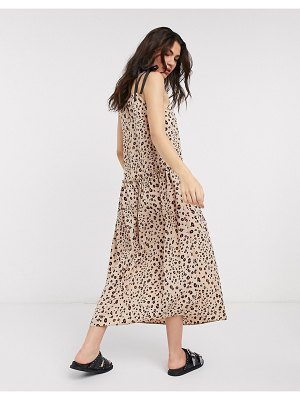 Topshop dropped waist midi dress in animal print-brown
