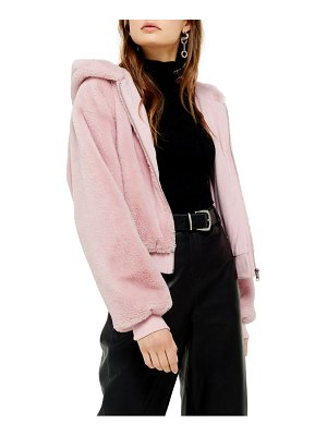 Topshop faux fur hooded jacket