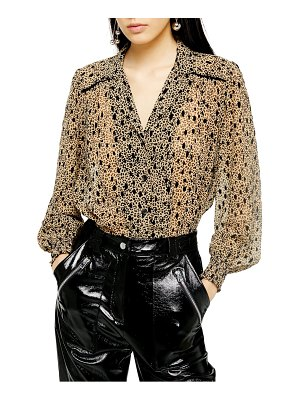 Topshop flocked animal print blouse