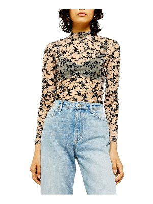 Topshop floral flock mesh mock neck top