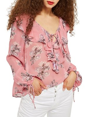 Topshop floral ruffle pompom blouse