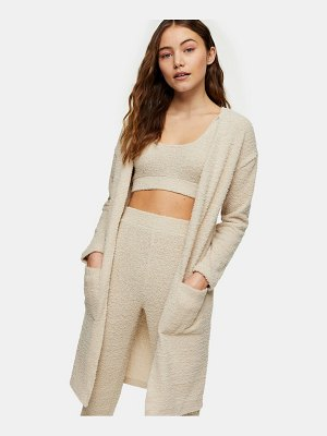Topshop fluffy cardigan in taupe