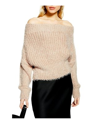 Topshop fluffy off the shoulder sweater