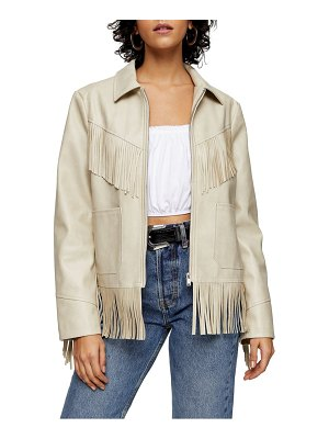 Topshop fringe trim faux leather jacket