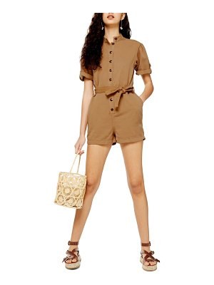 Topshop gathered yoke cotton blend utility romper