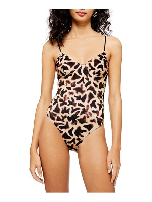 Topshop giraffe print ribbed one-piece swimsuit