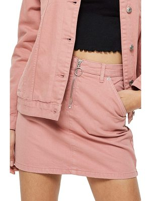 TOPSHOP Half Zip Denim Skirt