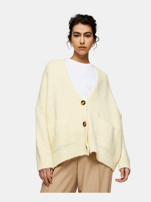 Topshop knit oversized cardigan in cream