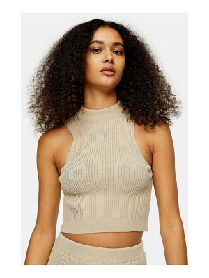 Topshop knitted racer tank in beige