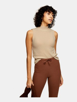 Topshop knitted sleeveless funnel neck top in natural-neutral